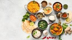 Traditional indian cuisine.  Top view with copy space