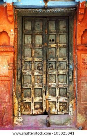 Traditional indian door in Jodhpur, Rajasthan, India