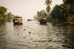 Traditional Indian house boat .Kerala .Vintage tone