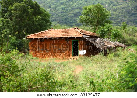 Traditional Indian house in nature background.