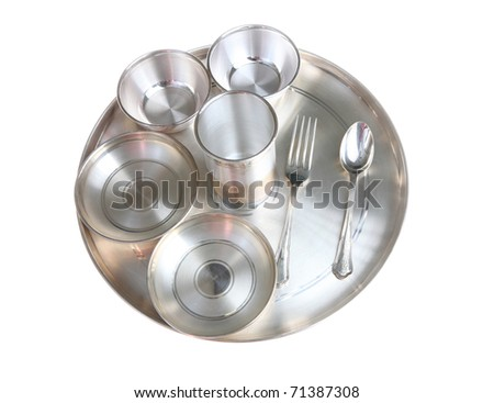 Traditional Indian Pure Silver Dinner Plate Setting, Isolated, White