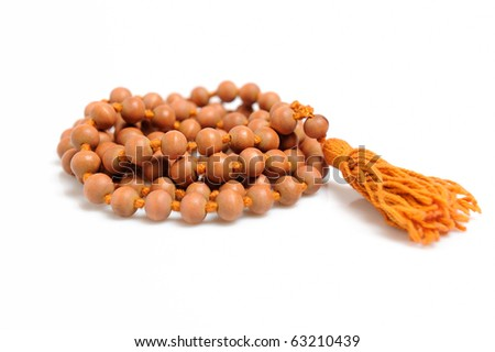 Traditional indian rosary for meditation - mala . isolated on white background