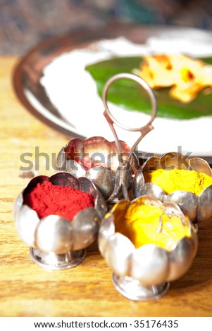 Traditional indian spices using during Hindu wedding ceremony