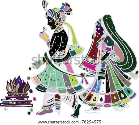stock photo Traditional indian wedding Illustration art