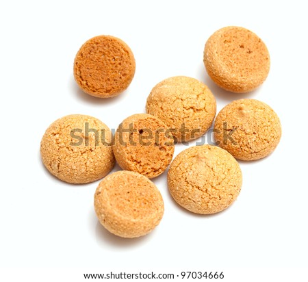 Traditional italian almond cookies - amaretti, isolated on white background