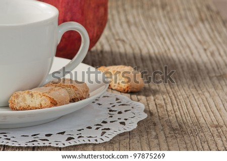 Traditional italian cantuccini cookies and a cup of coffee