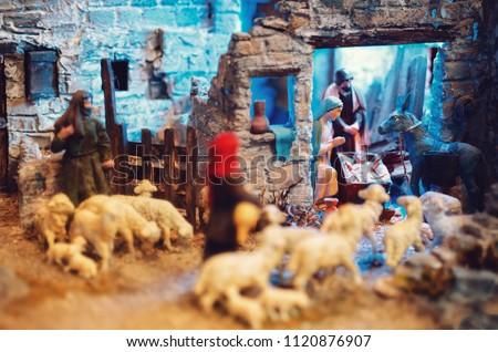 Traditional italian handmade presepe (nativity scene)