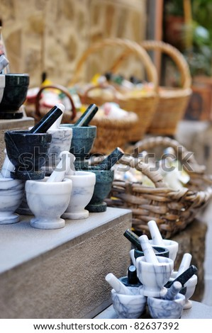 Traditional Italian mortars - on display in souvenir shop