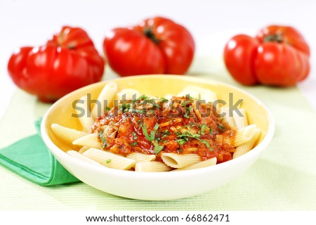 Traditional Italian Penne macaroni pasta with tomato