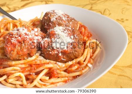 Traditional Italian spaghetti and meatballs