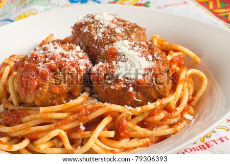 Traditional Italian spaghetti and meatballs - stock photo