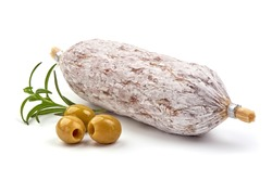 Traditional Italian thin dried sausage, isolated on white background.