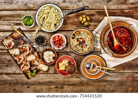 Traditional Italian vegetarian dinner in the open air.top veiw