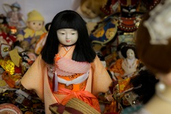 Traditional japanese dolls during the Meiji Jingu Ningyou Kansha Matsuri, also known as the Doll appreciation ceremony, held once a year in October at Meiji Jingu (Shinto Shrine) in Tokyo, Japan.