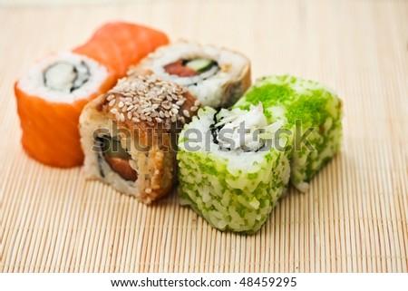 Traditional Japanese food Sushi, close-up
