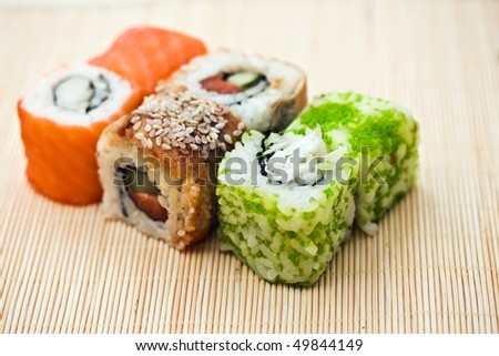 Traditional Japanese food Sushi, close-up