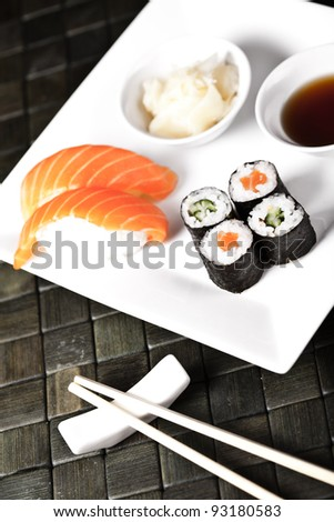 Traditional Japanese food Sushi on the white plate