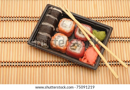 traditional japanese rolls close up