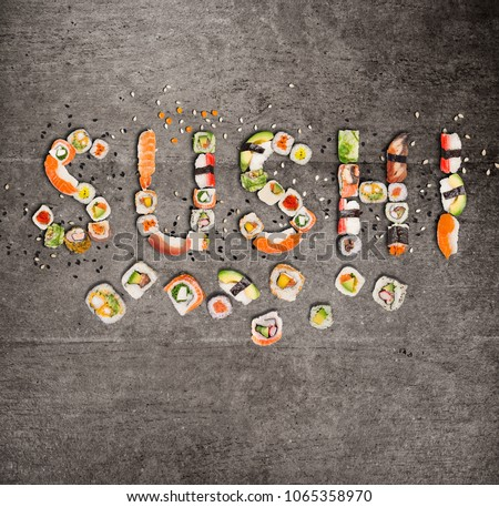 Traditional japanese sushi pieces making inscription. Very high resolution image.