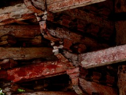 Traditional Japanese temple architecture. Structure under the eaves.