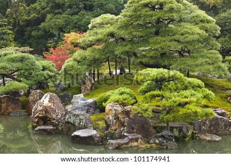 traditional japanese zen garden in Kyoto, Japan - stock photo