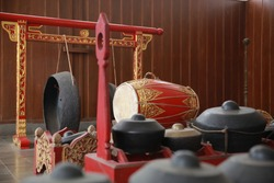 Traditional java or bali percussion music instruments called gamelan