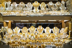 Traditional jewelry shop showcase in Turkey.