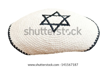 Traditional jewish headwear with embroidered star of David