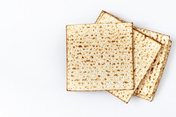 Traditional Jewish kosher matzo for passover .Pesah celebration concept (jewish Passover holiday)