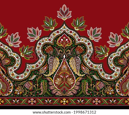 Traditional Kashmiri Shawl Design for Printing and Weaving Stock fotó ©