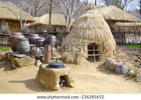 Traditional Kimchi Jar Storage Hut, Korean Folk Village in the city of Yongin, a satellite city in the Seoul Metropolitan Area