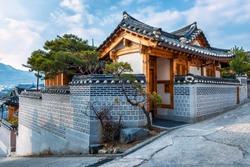 Traditional Korean style architecture at Bukchon Hanok Village in Seoul, South Korea.