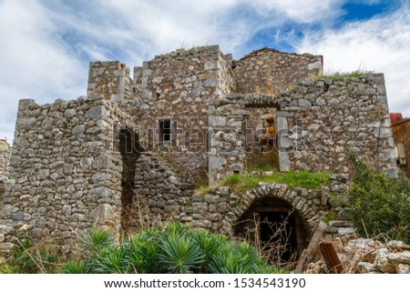 Traditional Lagia village on Mani semi-island, Peloponnese, Greece