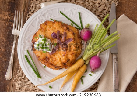 Traditional lakes, or potato pancakes are served during the Jewish holiday Hanukkah.