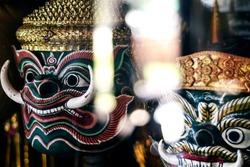 traditional lakhon khol khmer dance masks in display at Wat Svay Andet pagoda near Phnom Penh Cambodia