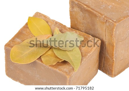 Traditional laurel soaps, isolated in the white background