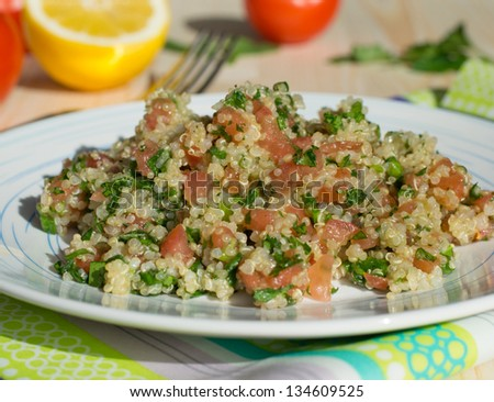 Traditional Lebanese salad tabouli with quinoa