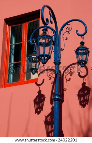 Traditional light in the neighborhood ol La Boca, in Buenos Aires, Argentina.