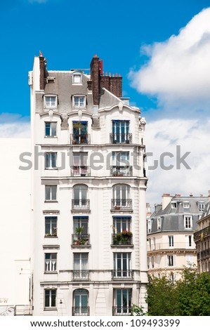 Traditional living building in Paris, France