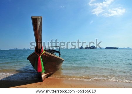 Traditional longtail boats in Hong island, Krabi province, Thailand