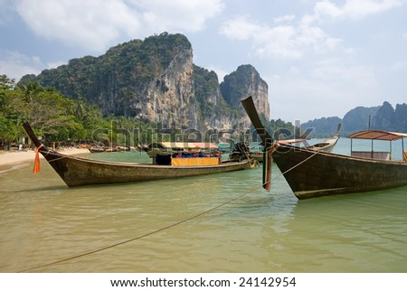 Traditional longtail boats on the Tonsai beach, Krabi province, Thailand