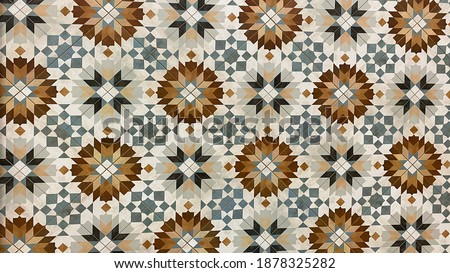 Traditional luxury ceramic tiles are used for interior or exterior kitchen and bathroom decoration, they can be installed on the kitchen floors and shower walls or backslash. Stylish rustic design. Foto stock ©