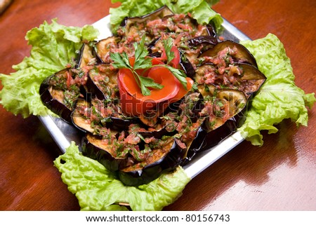 Traditional macedonian dish - grilled eggplant with tomato sauce
