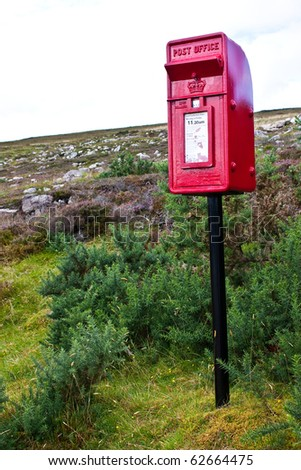 Traditional mail box in Scotland, in the middle of nowhere