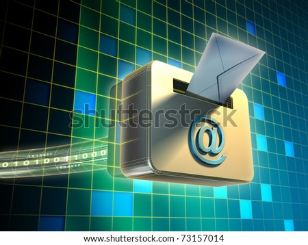 Traditional mail envelope being posted in an internet e-mail box. Digital illustration.