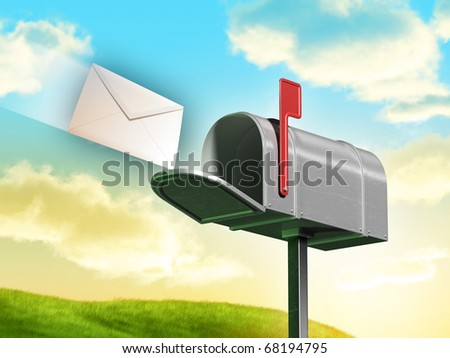 Traditional mailbox and letter over a gorgeous landscape with rolling hills and clouds. Digital illustration.