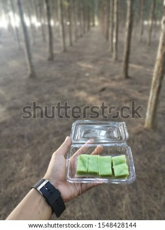 """Traditionalmalay kuih it's name """" kuih seri muka"""" is a two-layered dessert withsteamedglutinous rice forming the bottom half and a green custard layer made withpandanjuice"""