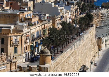 Traditional Maltese architecture in Valletta, Malta