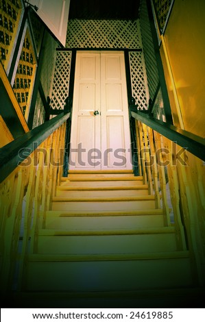 traditional mansion interior design in lomography effect - stock photo