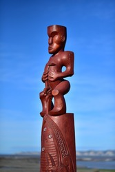 Traditional maori carving part of Ātea a Rangi (star compass), Clive, New Zealand